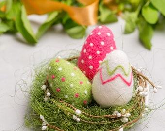 Easter eggs nest, Easter holiday decor, Needle felted Easter, Easter set eggs