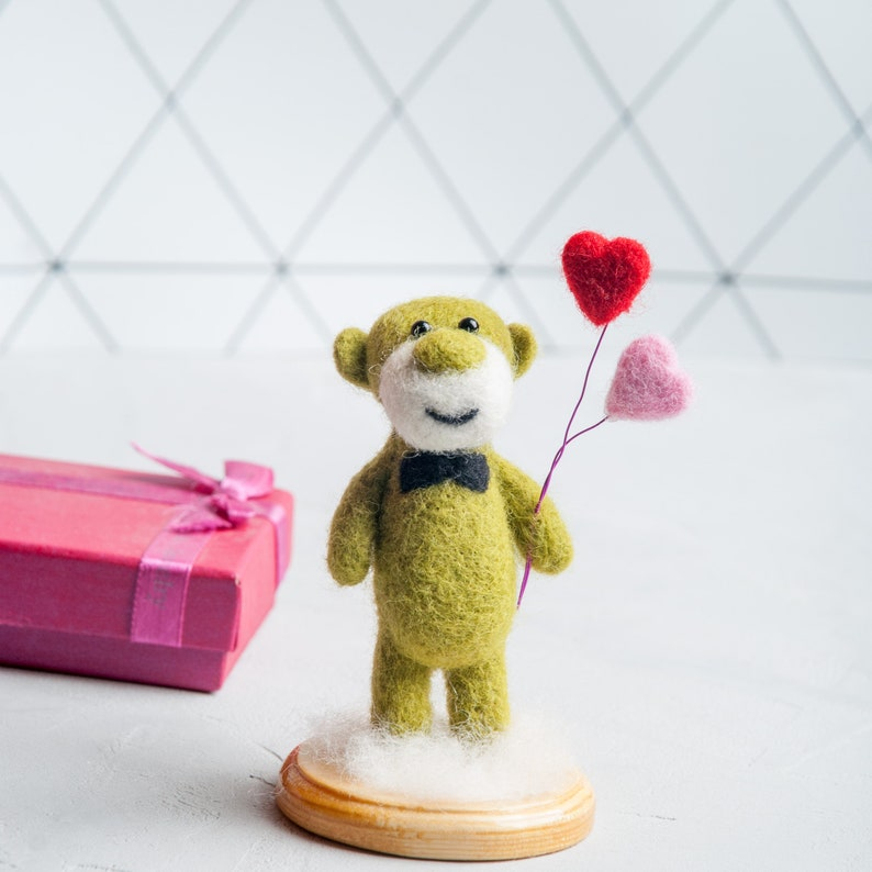 Needle felted teddy gentleman Cute green wool teddy St.Valentine/'s  gift idea Toy teddy with heart balloons Felted animal sculptures