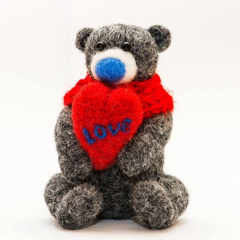 Birthday gift idea for her Cute wool teddy bear with a red heart Grey romantic needle felted souvenir Best present for girls,Natural toy