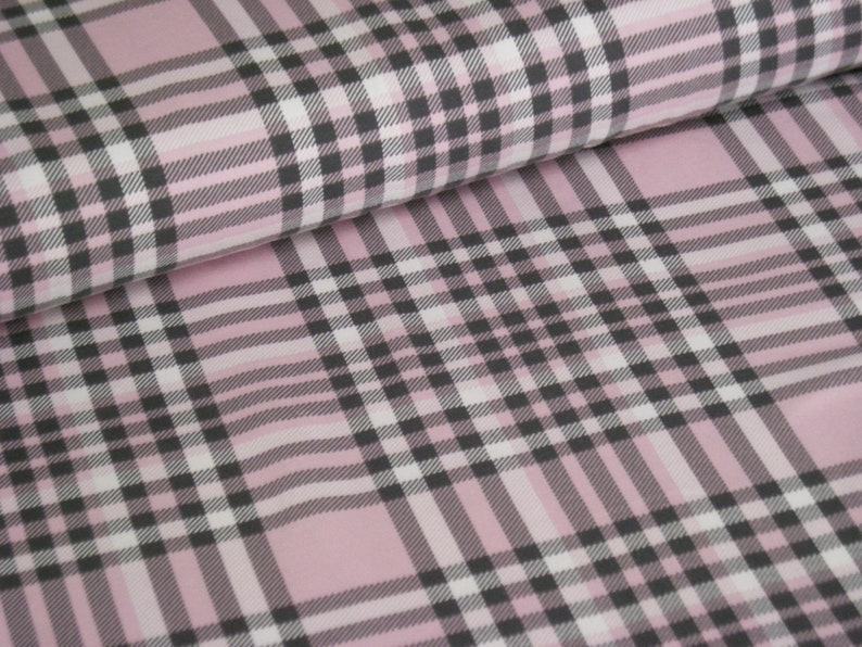Cotton jersey pink with diamond pattern  tartan pattern  image 0