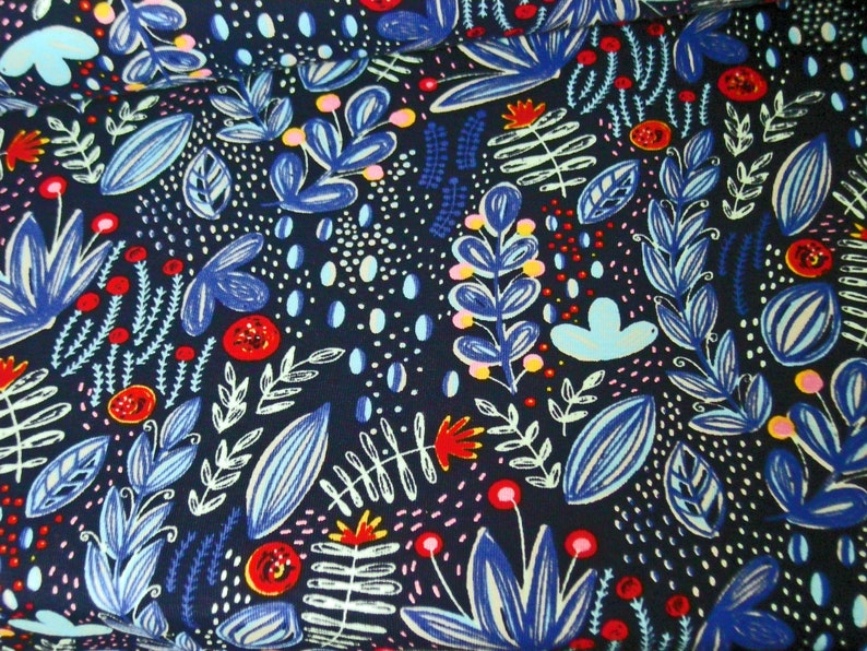 BW-Jersey Wild Garden Blue Flowers and Leaves Design Rebekah image 0