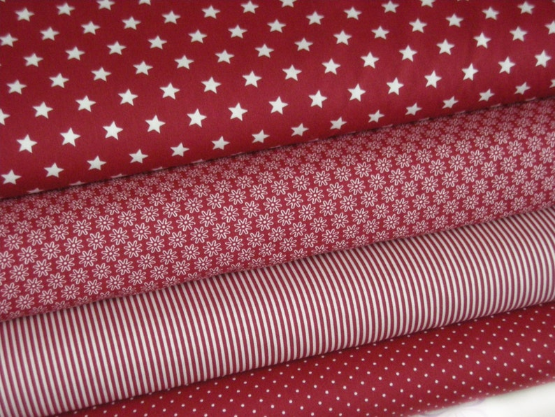Fabric package bordeaux / wine red 4 fabrics each 25 x 145 cm image 0