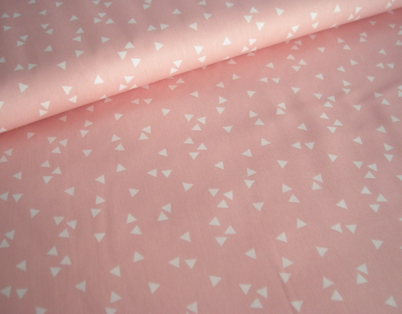 Cotton Fabric pink with white Triangles image 0