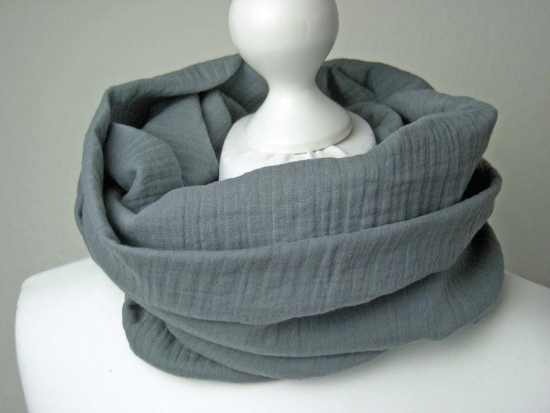 Loop Musselin Grey  Round scarf Loopschal wrap scarf Musselin image 0