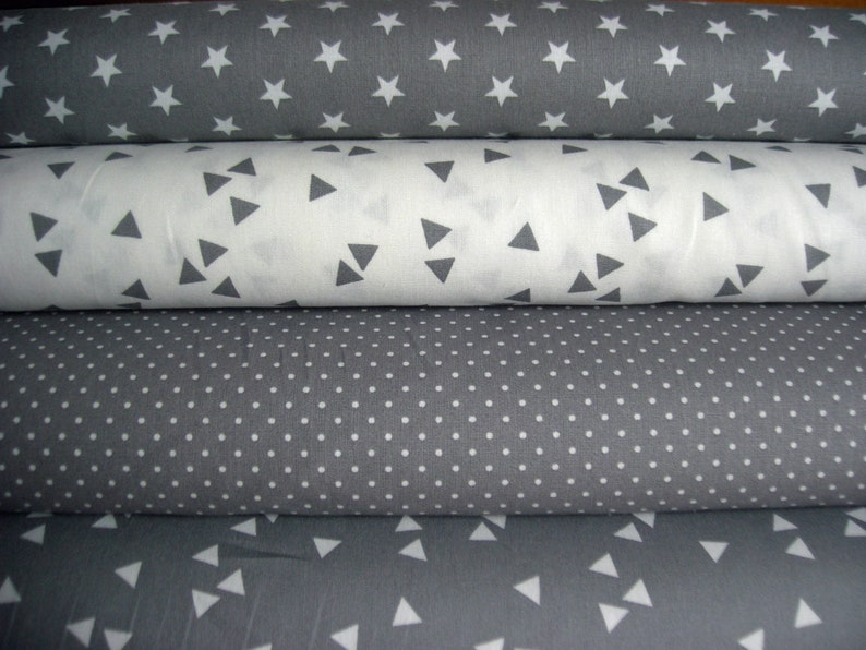 Fabric package grey  with stars triangles and dots  4 image 0