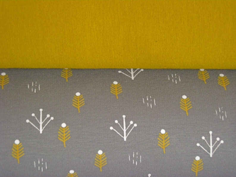 Fabric package cotton French-Terry grey with twigs and BW image 0