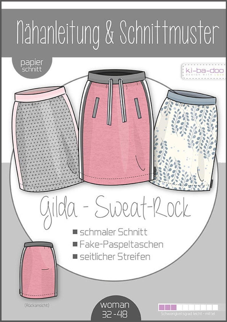 narrow skirt Sewing Instructions * Paper cut pattern Ki-ba-doo Gilda sweat skirt