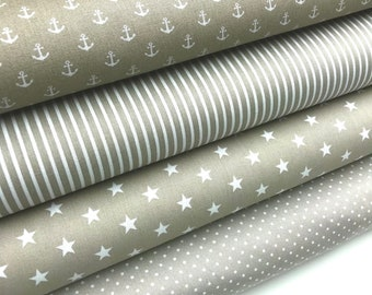Fabric package sand-coloured 4 fabrics each 50 x 150 cm * patchwork fabrics * sewing package * cotton fabrics