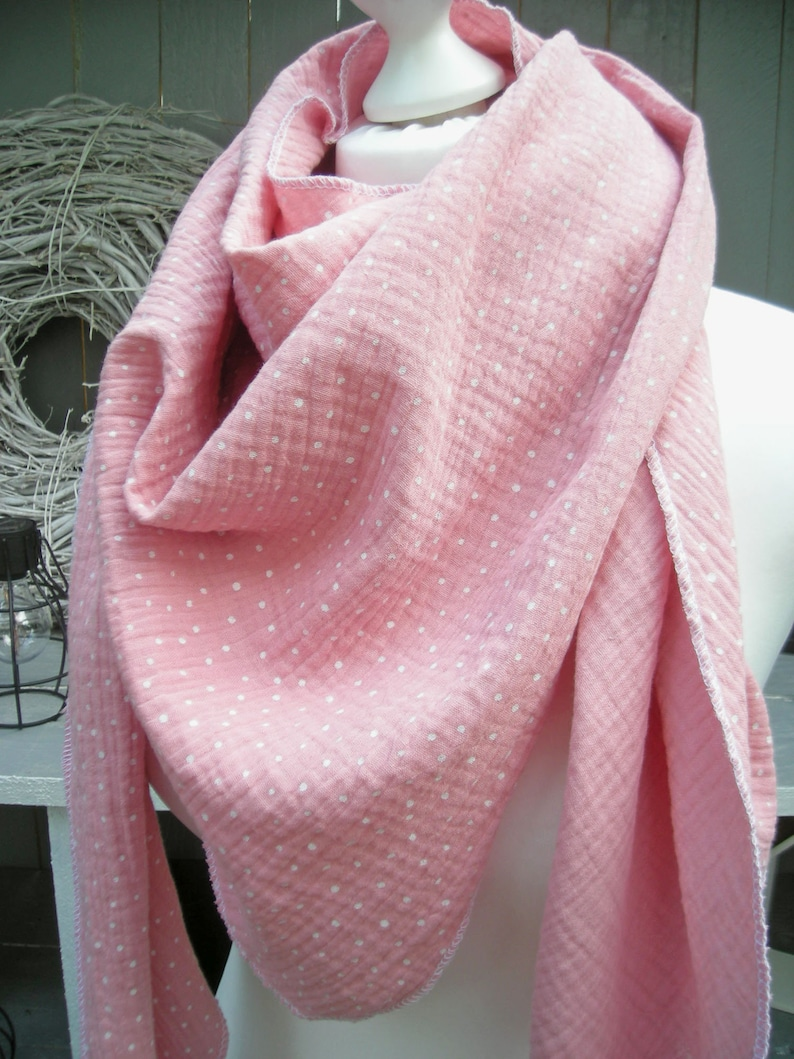 Muslin scarf pink m dots triangle scarf neck scarf image 0