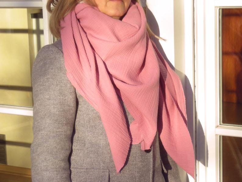 Muslin intuice old pink  triangular neckerchief  neckerchief image 0