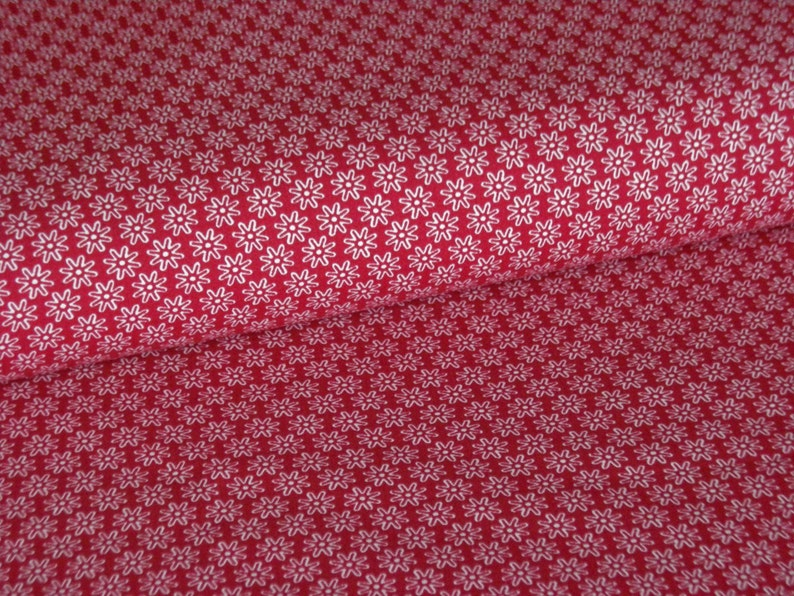Bordeaux cotton fabric with white flowers image 0