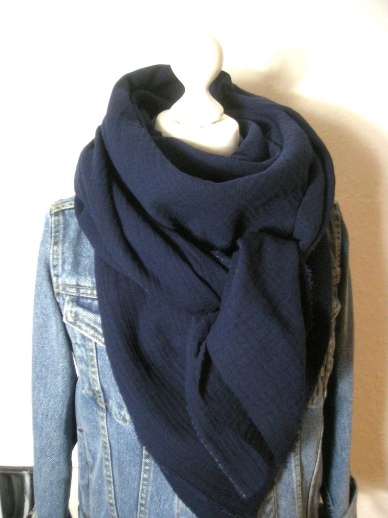 Muslin scarf dark blue  triangular scarf neck cloth image 0
