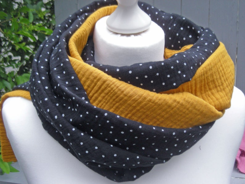 Loop muslin black with dots and mustard yellow  round scarf image 0