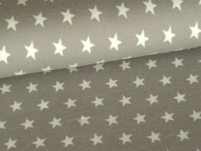 Cotton jersey taupe with white stars image 0