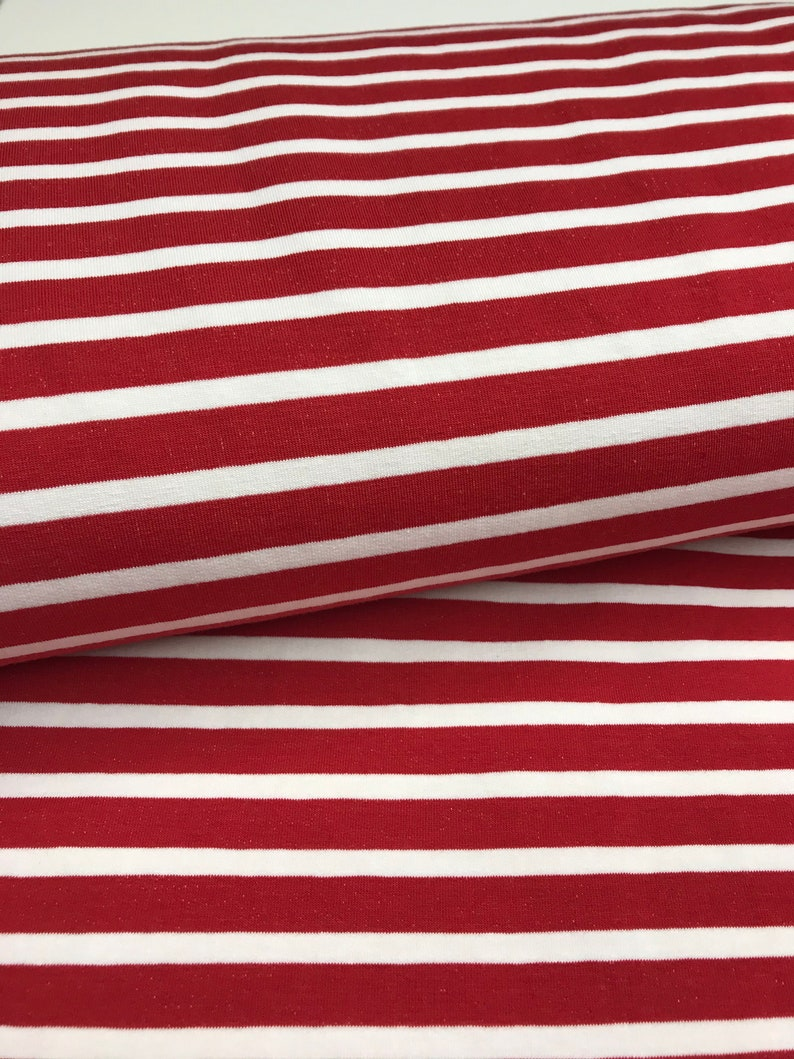 French Terry  Summer sweat red with white stripes  50 cm x image 0