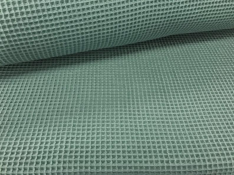 Waffle lpiqué green old green  waffle fabric image 0