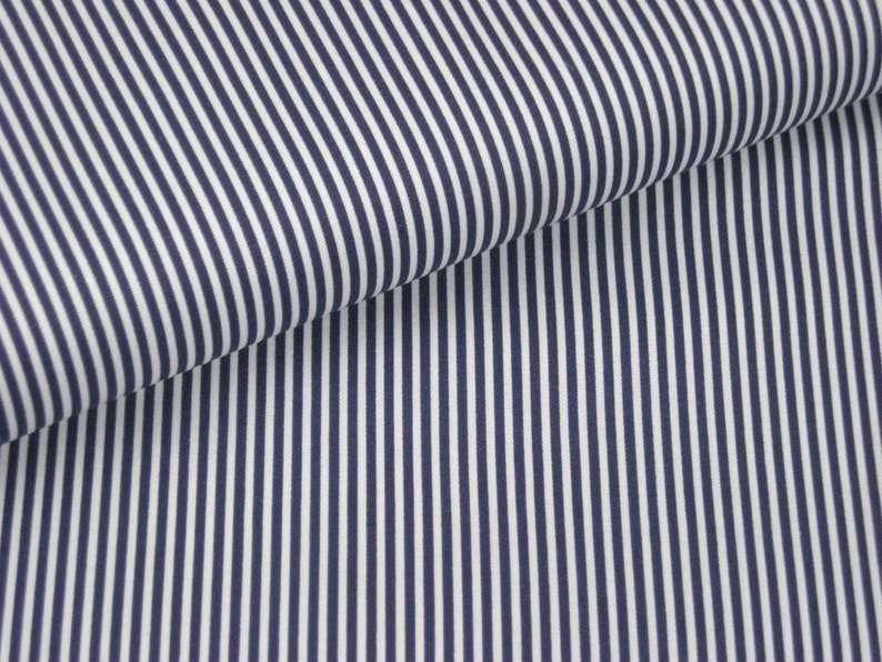 Cotton fabric dark blue with fine white stripes image 0