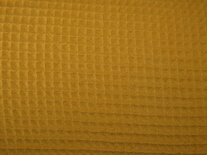 Waffle lpiqué mustard yellow  waffle fabric uni mustard image 0