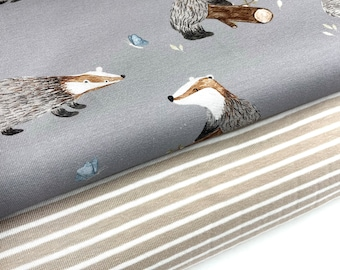Fabric package Mr BADGER BW Jersey + ringed jersey beige-white Campan children's fabrics Jersey for children