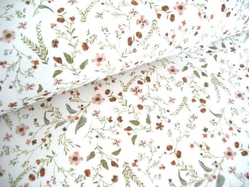 Cotton fabric weaving millefleurs  stray flowers  OekoTex image 0