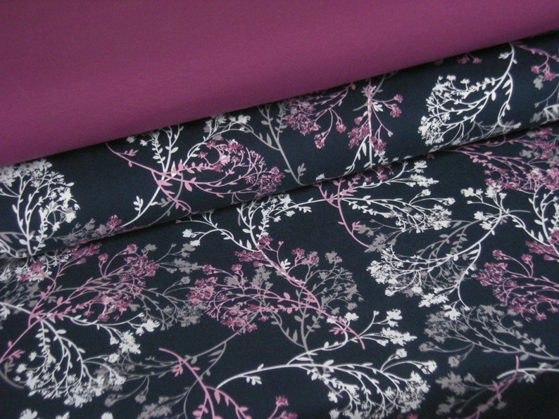 Fabric package BW-Jersey berry uni  blue floral pattern image 0