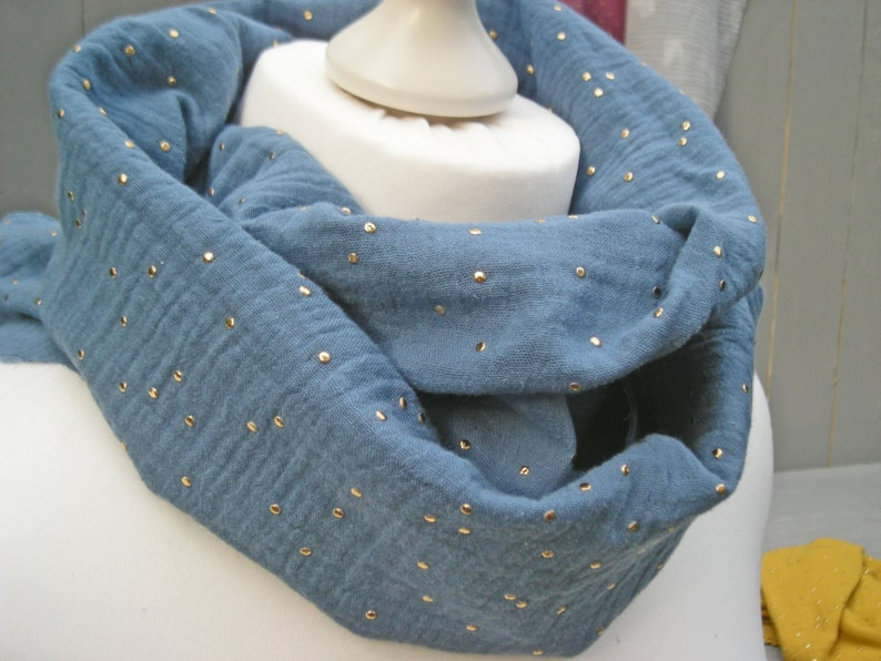 Loop muslin jeans blue with golden dots  Round scarf loop image 0