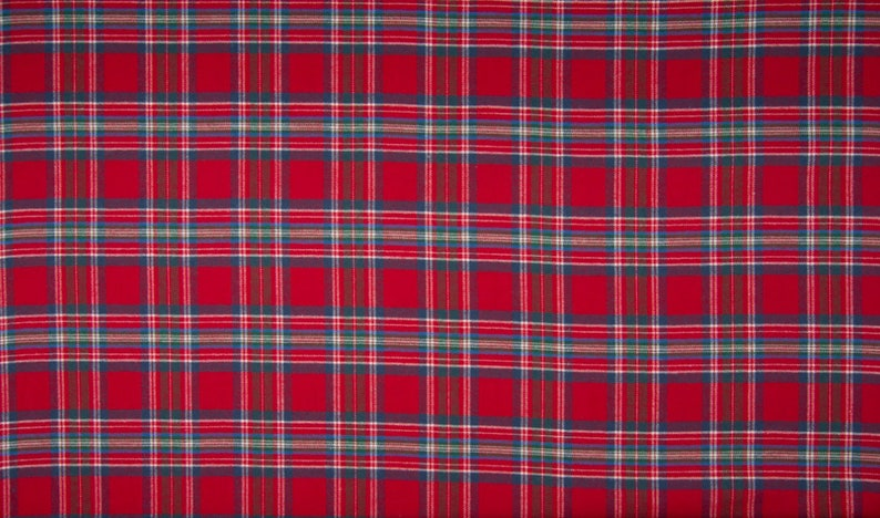 light flannel fabric with tartankaro red  green  flannel  image 0