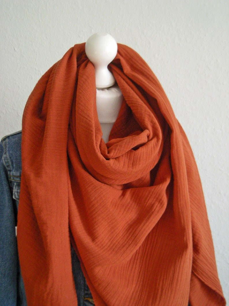 Muslin scarf rust  Triangle scarf Neck cloth Women's image 0