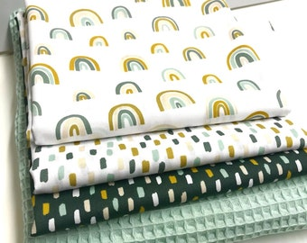Fabric package rainbow and strokes and waffle blotique mint * 4 fabrics each 50 x 150 cm * patchwork fabrics * sewing package * cotton fabrics