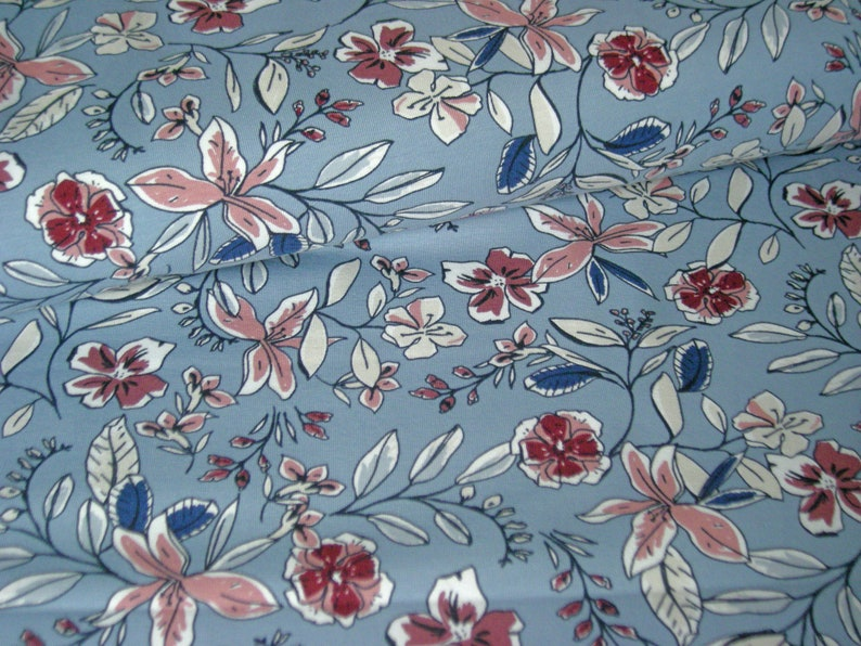 BW-Jersey Flowers light blue old pink by MEZ Fabrics image 0