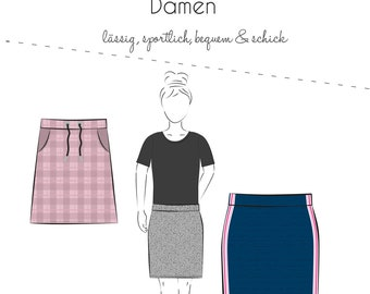 Paper Sewing Pattern Anne von Fadenkäfer * Sewing Instructions Skirt Anne * Sewing Pattern Gr 32-58