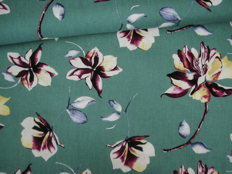 Viscose linen old green with flowers  Magnolias image 0