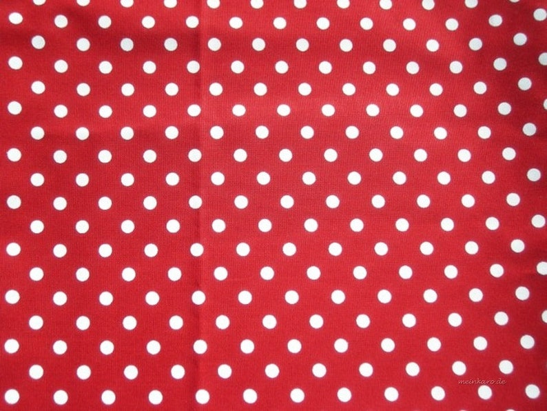 Red cotton fabric with white dots 8 mm image 0