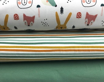 Fabric pack forest animals Forest Animals French Terry u Jersey old green + Ringeljersey children's fabrics Jersey for children