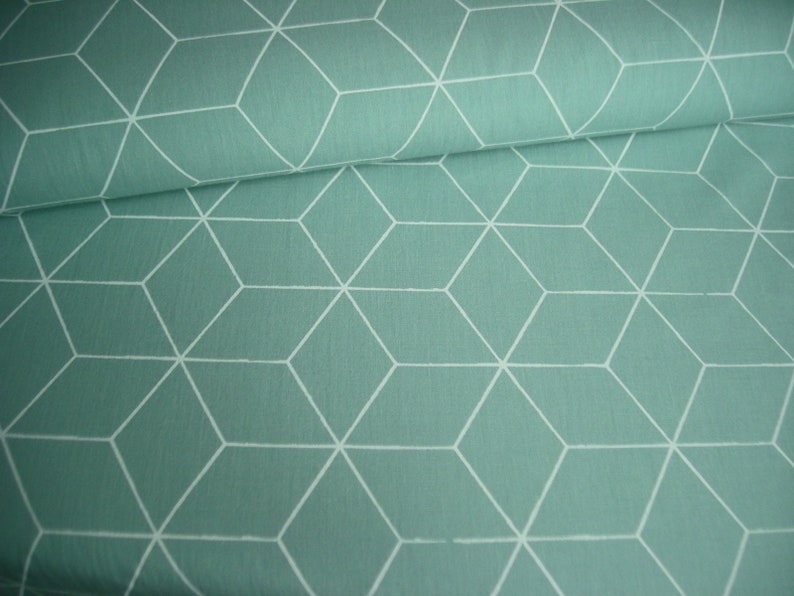 Cotton fabric green with large cubes 50 cm x 148 cm image 0