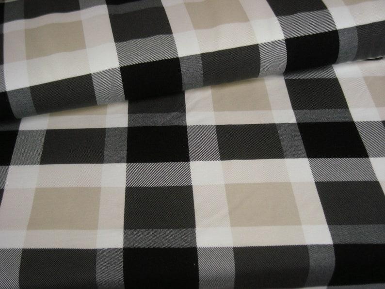French Terry  Summer sweat plaid beige  black  diamond image 0