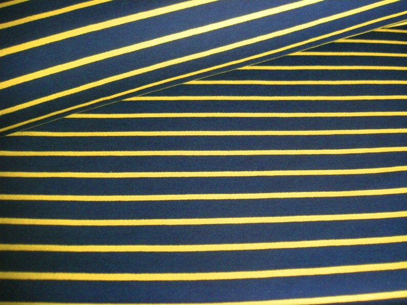 French Terry  Summer sweat blue with mustard yellow stripes  image 0