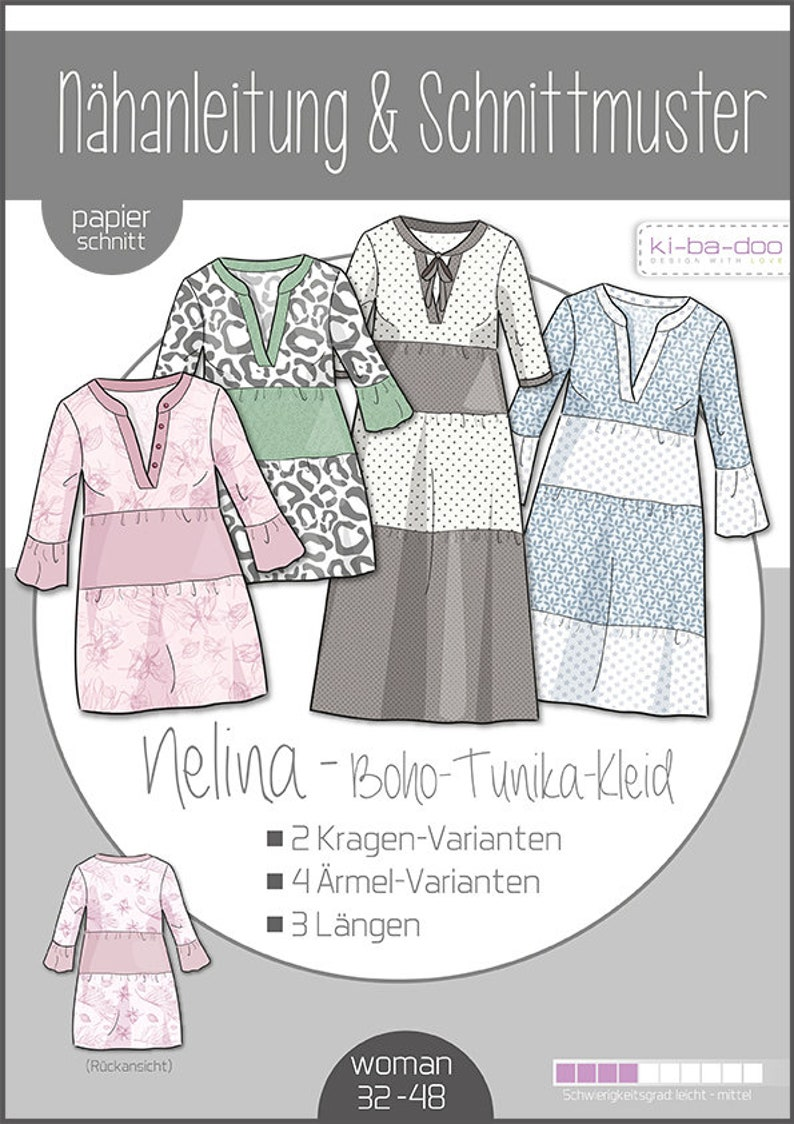 Paper Cut Pattern Nelina Boho Tunic Dress  Ki-ba-doo  Sewing image 0
