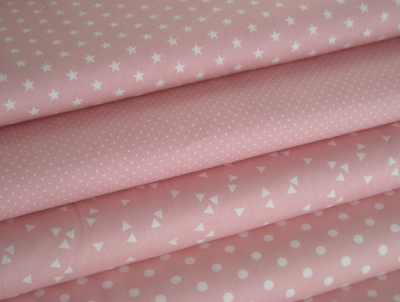 Fabric Package pink  with Stars and Dots  4 Fabrics each 50 image 0