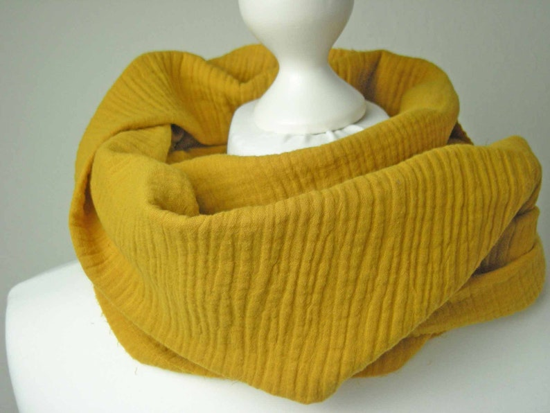 Loop Musselin mustard yellow  Round scarf Loopschal wrap image 0