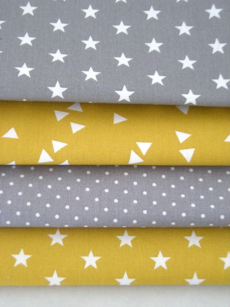 Fabric package mustard yellow-grey 4 fabrics each 25 cm x 145 image 0