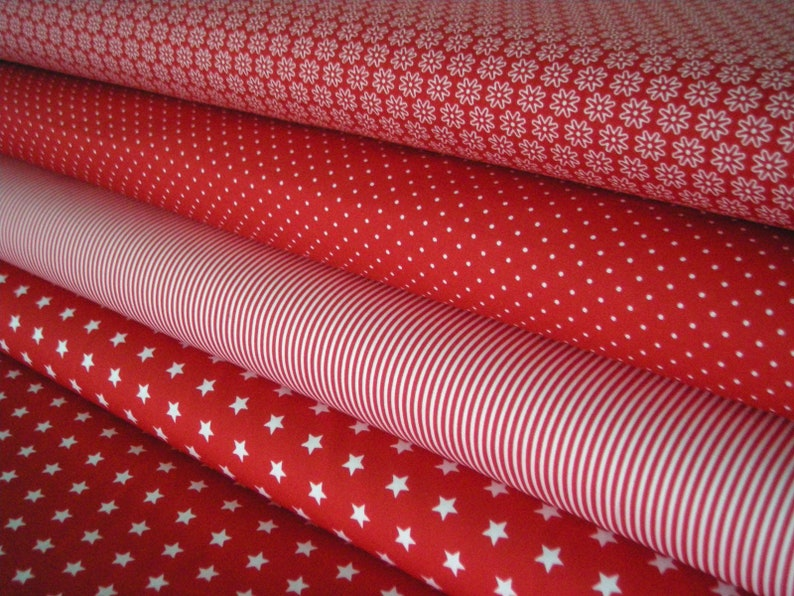 Fabric packet red 4 cotton fabrics 50 x 145 cm each image 0