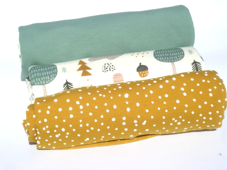 Fabric pack French Terry Woods jersey old green with dots image 0