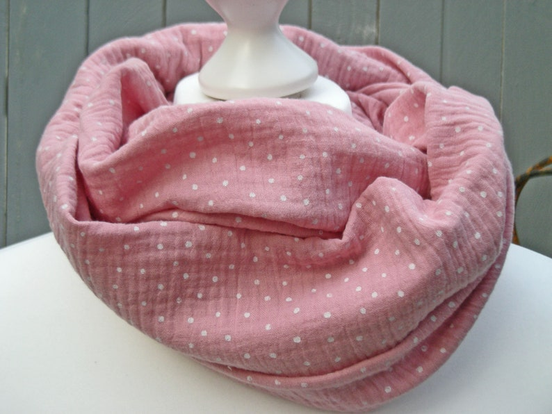 Loop muslin pink with white dots  Round scarf loop scarf wrap image 0
