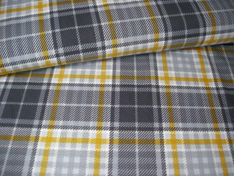 BW-Jersey Tartan-diamond grey-mustard yellow by MEZ Fabrics image 0