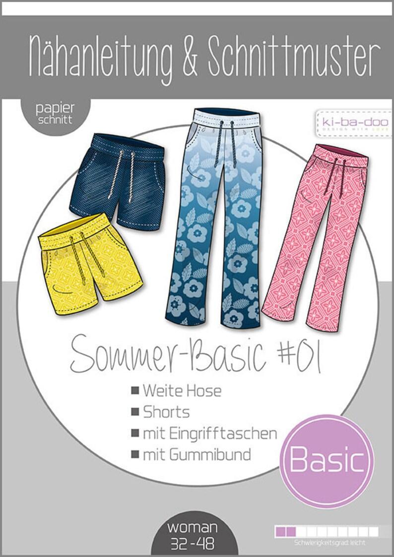 Paper Cut Pattern Ki-ba-doo Mix & Match Summer Basic Pants 01 image 0