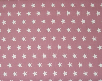 Dusky pink cotton with white stars