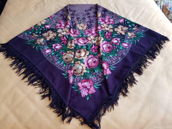 Floral Turkmen shawl-scarf