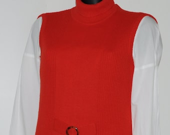 Vintage red wool sleeveless sweater Size 36-38 FR
