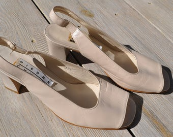 Vintage pearly white leather slingback shoes PIERRE CHUPIN Size 37.5 FR